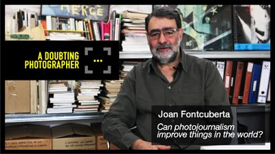 Joan Fontcuberta sitting in his studio in Barcelona